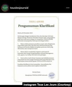 Klarifikasi Tous Les Jours di Instagramnya