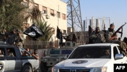FILE - Members of the Islamic State militant group parade in the northern rebel-held Syrian city of Raqqa. Carter said if the U.S. finds additional groups willing to fight IS in Syria, he and President Barack Obama are prepared to deploy additional U.S. forces there.