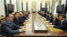 Russian President Putin presides over cabinet meeting May 21, 2012