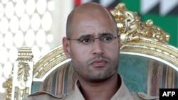 Le fils de l'ancien leader libyen, Saif al-Islam Kadhafi, lors d'une cérémonie à Ghiryan, le 18 août 2007.