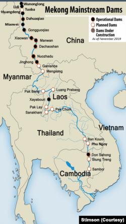 Các con đập trên sông Mekong, gồm 11 đập của Trung Quốc đang hoạt động trên thượng nguồn. (Ảnh của Trung tâm Stimson)