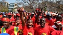 Striking petrol station attendants protest in Johannesburg, South Africa, September 9, 2013.