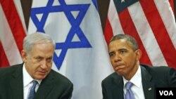 Presiden AS Barack Obama (kanan) bertemu PM Israel Benjamin Netanyahu di sela-sela sidang umum PBB (21/9). Presiden Obama juga bertemu secara terpisah dengan Presiden Palestina, Mahmoud Abbas.