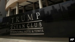 FILE - The main entrance to the Trump Ocean Club International Hotel and Tower in Panama City, Panama, July 4, 2011.