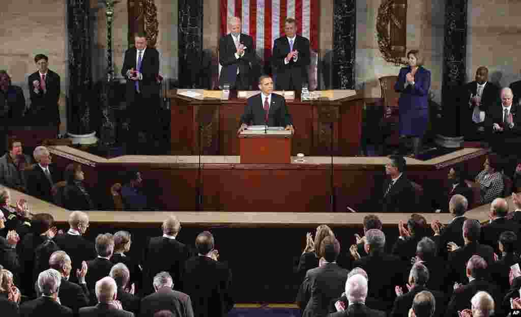 奥巴马总统发表国情咨文演说。(AP)