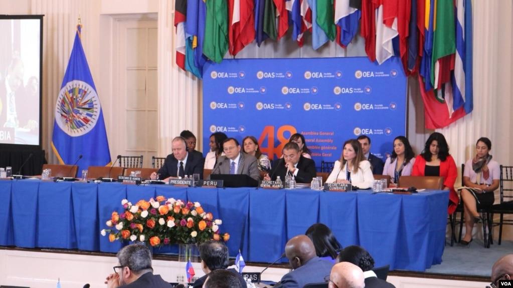 La Asmblea General de la OEA reunida en Washington, D.C., considera la expulsión de Venezuela del organismo regional.