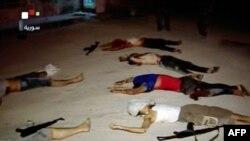 2012年7月20日叙利亚电视广播的一个截图显示,被打死的人躺在在大马士革的布恩地区附近的TESHRIN的地上