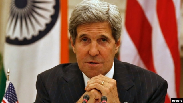 U.S. Secretary of State John Kerry speaks during a joint news conference with India's Foreign Minister Salman Khurshid [not picture], in New Delhi, India, June 24, 2013.