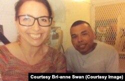 Bri-anne Swan visiting with Ramiro Gonzales in August.