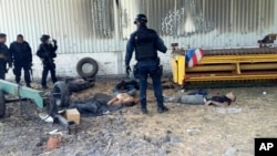 FILE - Federal police stand near the bodies of men who authorities say were suspected cartel gunmen at the Rancho del Sol, near Ecuanduero, in western Mexico.