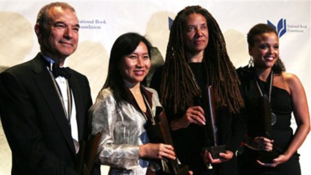 Award winners, from left, Stephen Greenblatt for nonfiction, Thanhha Lai for young people's literature, Nikky Finney for poetry and Jesmyn Ward for fiction