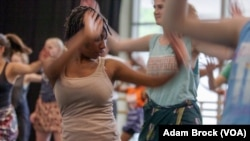 Mandisa Haarhoof attends an African dance class at the University of Florida.