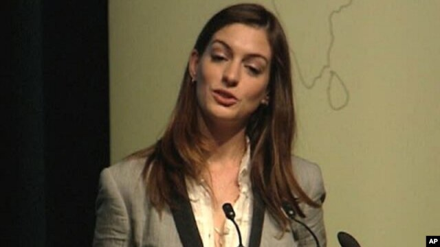 "Actress Anne Hathaway at the World Bank-Nike Foundation ""The Girl Effect"" Adolescent Girls Initiative event in Washington, D.C."