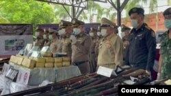 ေရႊႀတိဂံက မူးယစ္ေဆးနဲ႔ လက္နက္အမ်ားအျပား ထိုင္းဘက္မွာဖမ္းမိ (Photo- Thai Police)