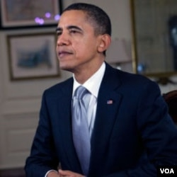 US President Barack Obama records the weekly speech, 10 Dec 2010