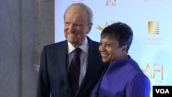 American Film Institute founder George Stevens (L) and Librarian of Congress Carla Hayden are seen at an event in Washington marking 50 years of partnership in film preservation between the two institutions.