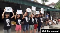 FILE - Protesters hold signs about the mass fish deaths in Nghe An Province, central Vietnam. Protests Sunday led to dozens of people being detained by police in Hanoi and Ho Chi Minh City.
