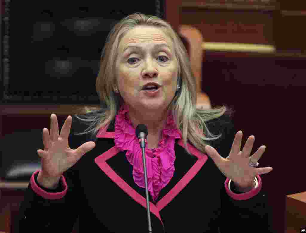 UNITED STATES: At the request of then-Secretary of State Hillary Clinton, the U.S. Director of National Intelligence confirmed strong links between African terrorism and wildlife poaching. Clinton frequently made the case for new anti-poaching strategies, as she did to Albania's parliament in 2012 (above).