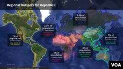 په نقشه کې هغه هیوادونه ښودل شوي چرته چې د زیړي یا د یرقان مرض وجود لري