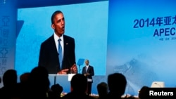 Presiden AS Barack Obama berbicara dalam KTT CEO APEC di Beijing (10/11).