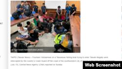 Trang Taiwan News loan tin 14 người Việt bị bắt hôm 13/7/2019.