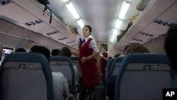 지난 2011년 북한 고려항공 여객기 내부 (자료사진)