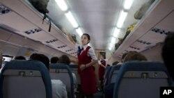 지난해 8월 중국 베이징에서 평양으로 향하는 북한 고려항공 여객기 내부. (자료사진)