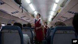 중국 베이징에서 평양으로 향하는 북한 고려항공 여객기 내부. (자료사진)