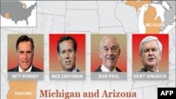Kandidati na republikanskim predsedničkim primarnim izborima u Miccigenu i Arizoni, Mit Romni, Rik Santorum, Ron Pol i Njut Gingrič