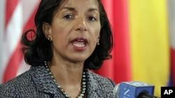 美國駐聯合國大使蘇珊.賴斯在聯合國總部的一次記者會上講話。