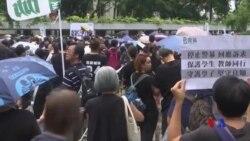 香港教師走上街頭支持抗議人士