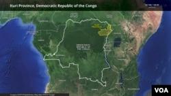Mapa da província de Ituri, República Democrática do Congo