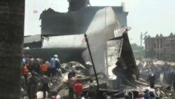 سقوط هواپیمای نظامی اندونزی در یک منطقه مسکونی