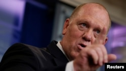 "FILE - Thomas Homan, acting director of U.S. Immigration and Customs Enforcement, speaks at the White House in Washington, July 27, 2017. Homan said Feb. 15, 2018, that he was ""appalled"" by the actions of former ICE official Raphael Sanchez, who has pleaded guilty of identity theft."