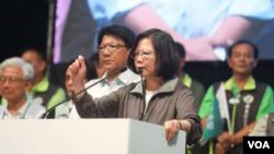 台灣總統蔡英文11月14號在選舉造勢場合上發表談話 (蔡英文臉書)