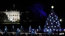 Ndizen dritat e pemës së Krishtilindjeve para Shtëpisë së Bardhë