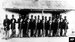 美國內戰時期黑奴士兵。