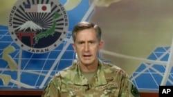 驻日美军司令凯文·施耐德在线上记者会上(2020年7月29日)