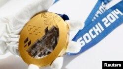 Una medalla de oro de las que serán entregadas en los Juegos Paraolímpicos de Sochi.