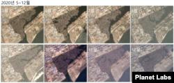 2020년 5월부터 12월까지 매월 청진 일대를 촬영한 위성사진. 선박의 숫자에 큰 변화가 없다. 자료=Planet Labs