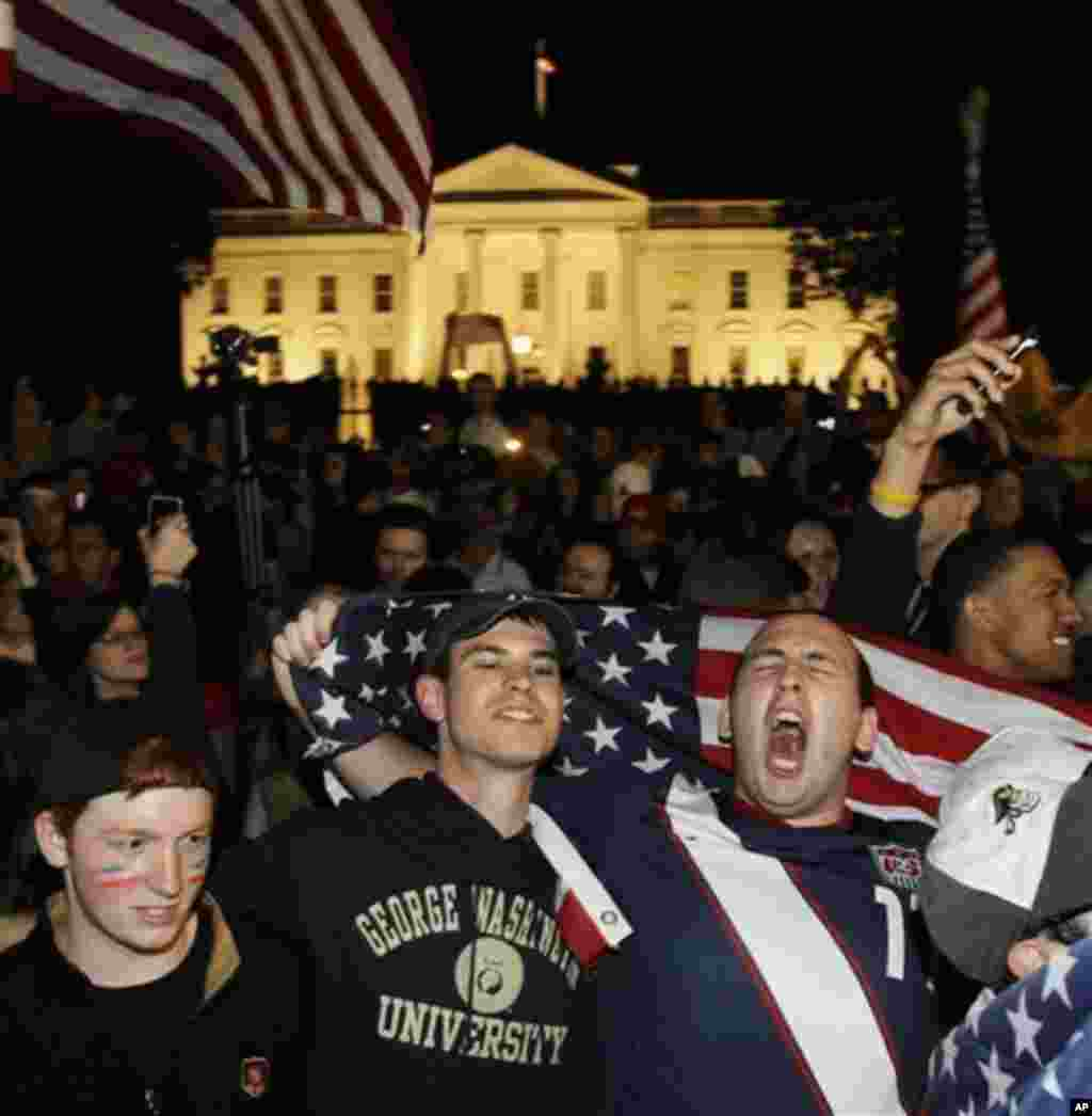 Crowds celebrate on Pennsylvania Avenue in front of the White House in Washington, early Monday, May 2, 2011, after President Barack Obama announced that Osama bin Laden had been killed (AP)