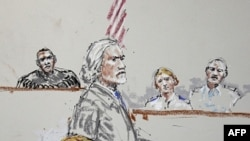 Bức phác họa phiên tòa xử Trung sĩ Calvin Gibbs
