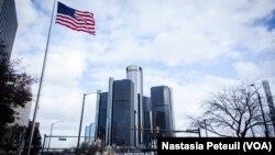 Le Renaissance Center, siège social de General Motor, dans le centre-ville de Detroit, au Michigan, le 23 novembre 2013.