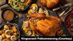 Típico jantar de Thanksgiving (Acção de Graças)