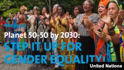 Affiche d'ONU Femmes sur la campagne 50/50