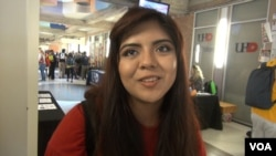 Mariceli, a student at the University of Houston-Downtown, told VOA her family rarely discusses politics. (G. Flakus/VOA)