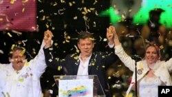ທ່ານ Juan Manuel Santos ປະທານາທິບໍດີທ່ີຖືກເລືອກຕັ້ງໃໝ່ຂອງ Colombia, ວັນທີ 20 ມິຖຸນາ 2010