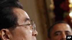 회담결과를 발표하는 후진타오 중국주석과 오바마 대통령