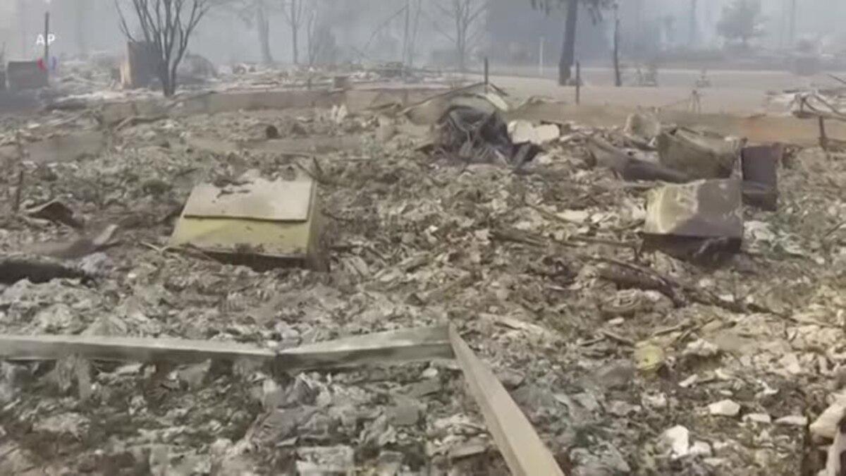 Аэросъемка разрушений после пожара «Кэмп»