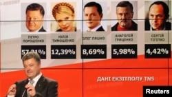 Ông Poroshenko, một doanh nhân, một chính trị gia và là ứng cử viên cuộc bầu cử tổng thống nói chuyện với những người ủng hộ ông trước tấm bảng cho thấy các kết quả thăm dò cử tri vừa bỏ phiếu